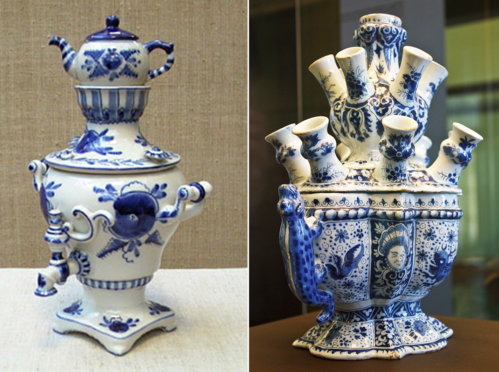 Samovar in ceramica di Gzhel