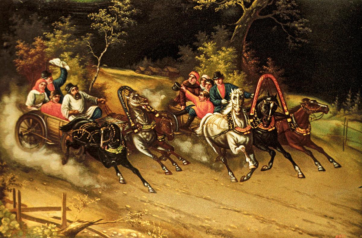 Peinture sur une boite traditionnelle réalisée par la Fabrique de peinture miniature de Fedoskino, dans la région de Moscou