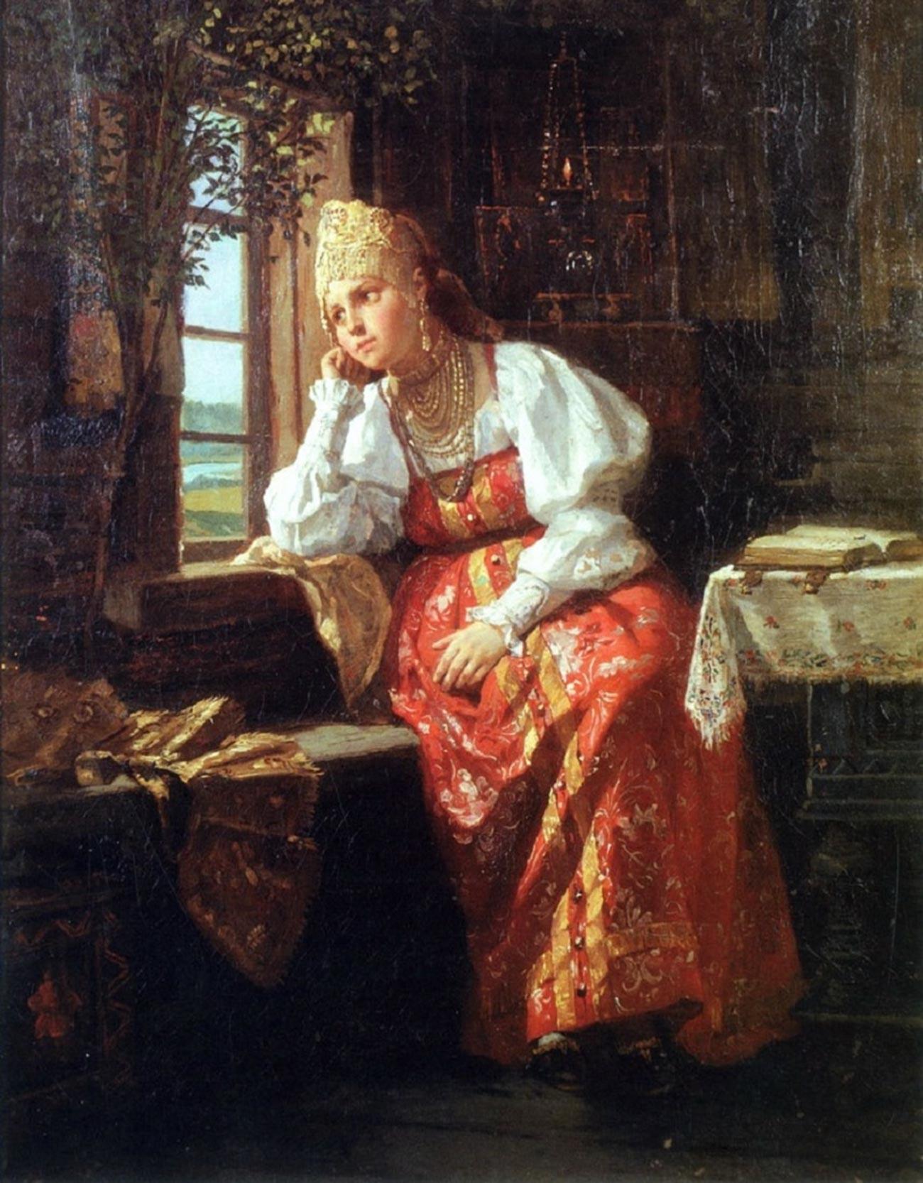 «Девушка у окна», художник Фирс Журавлев (1836-1901)