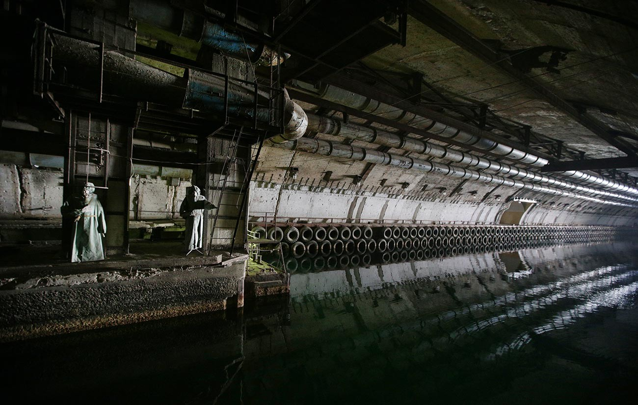 An underground canal on the territory of the Balaklava naval Museum complex, located in a former underground submarine base