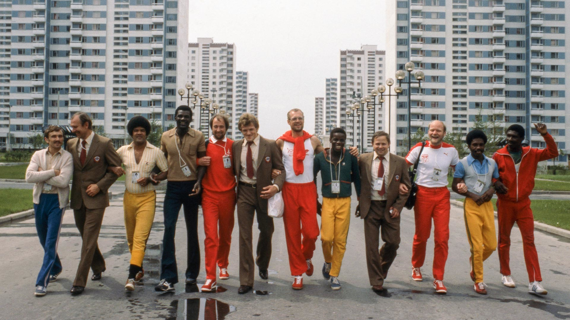 Sportsmen from the USSR, Denmark and Guyana in Olympic Village.
