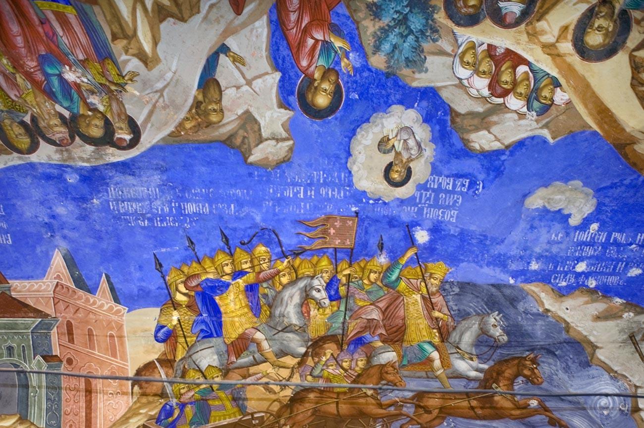 Église Saint-Nicolas Nadeïn. Galerie ouest, fresques au plafond. Fragments de la « bataille de Jéricho » (allégorie des victoires des Russes en 1612-1613).