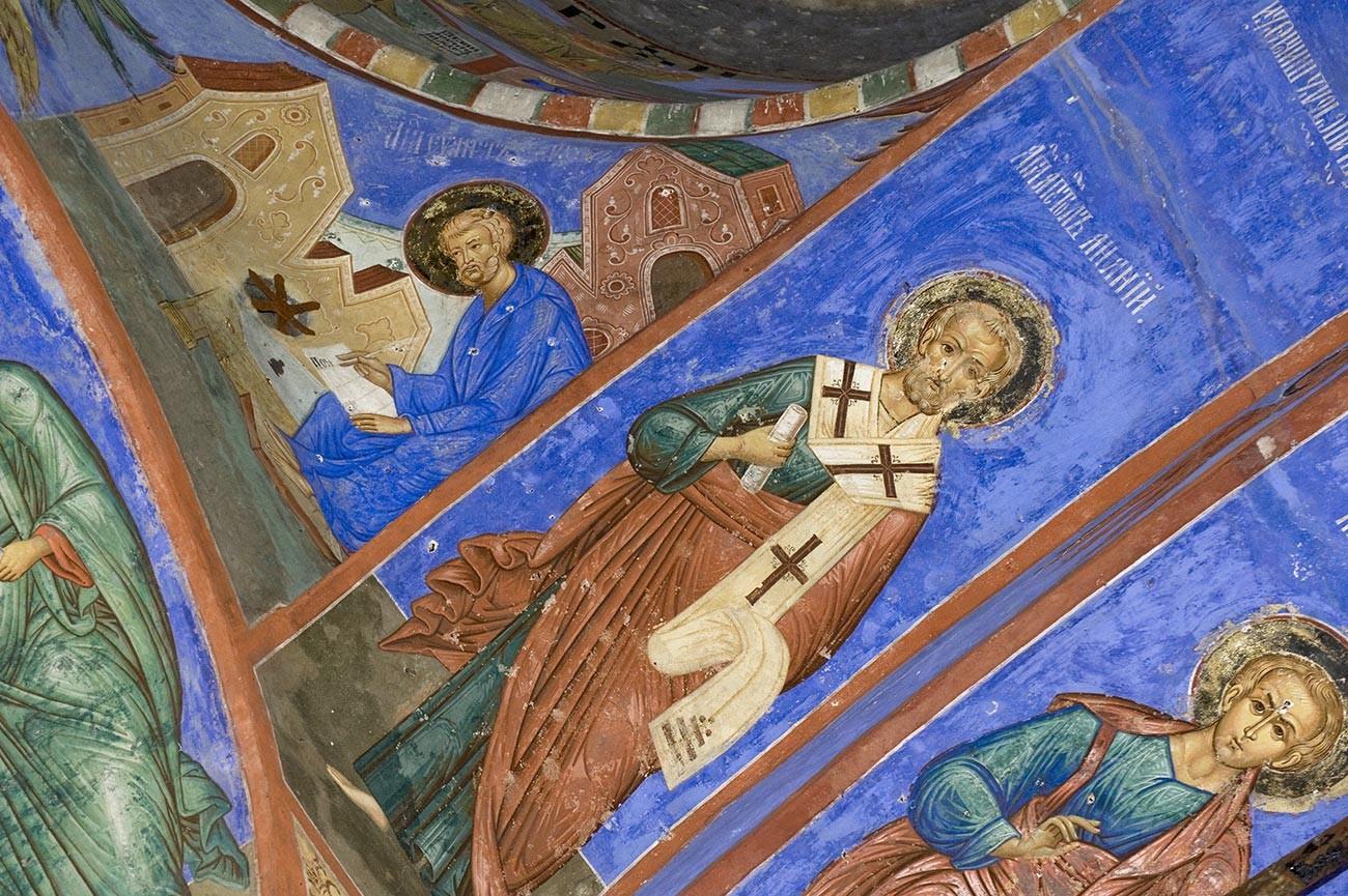 Église Saint-Nicolas Nadeïn. Segment sud-ouest du croisement central avec la figure d'Ananie, évêque de Damas. Fresques repeintes à la fin du XIXe siècle dans le style d'art de Palekh.