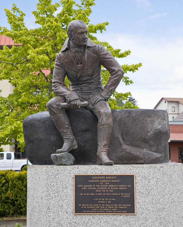La estatua de Alexánder Baránov en Sitka (Alaska).