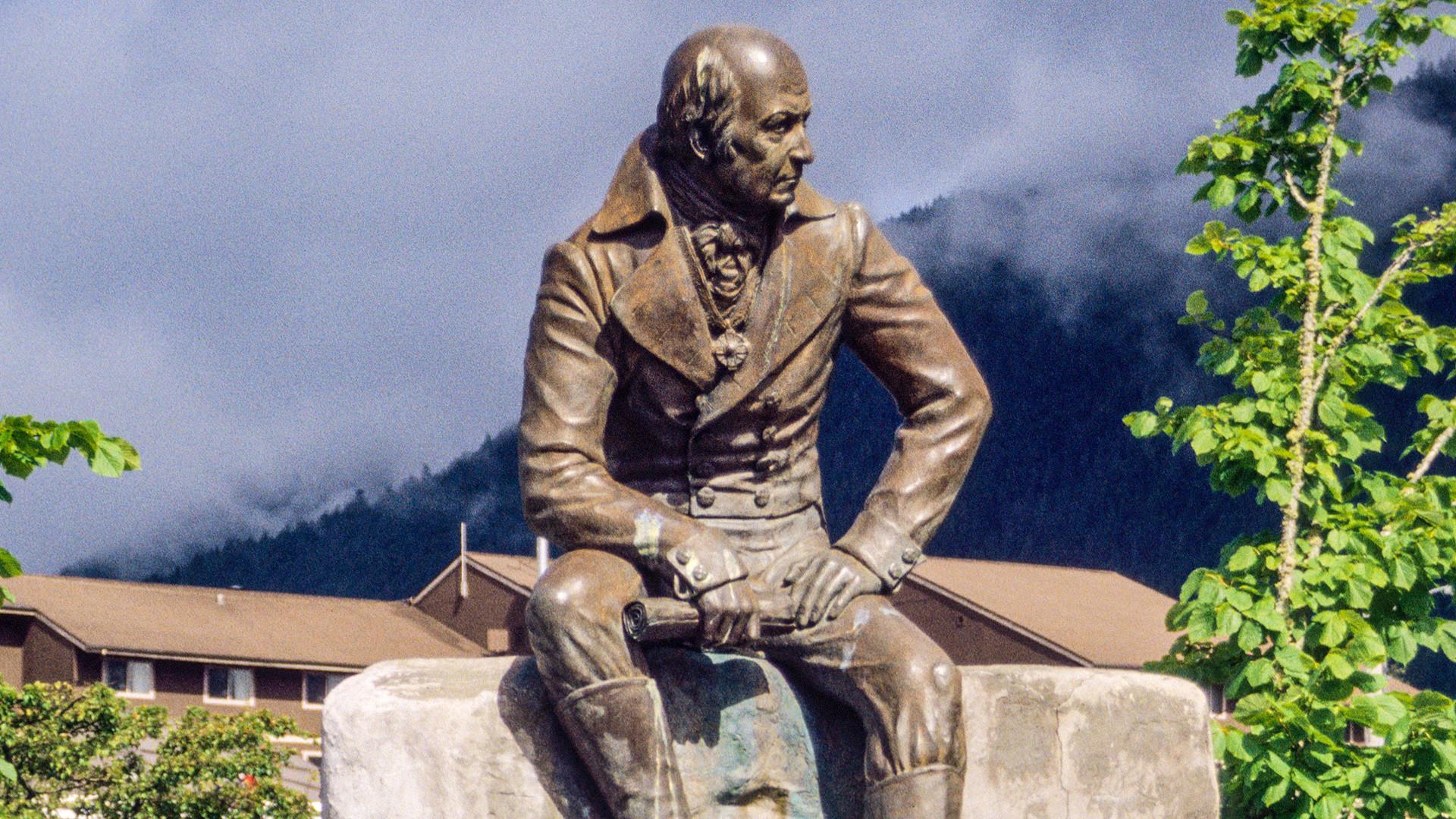 La statue d'Alexandre Baranov, à Sitka