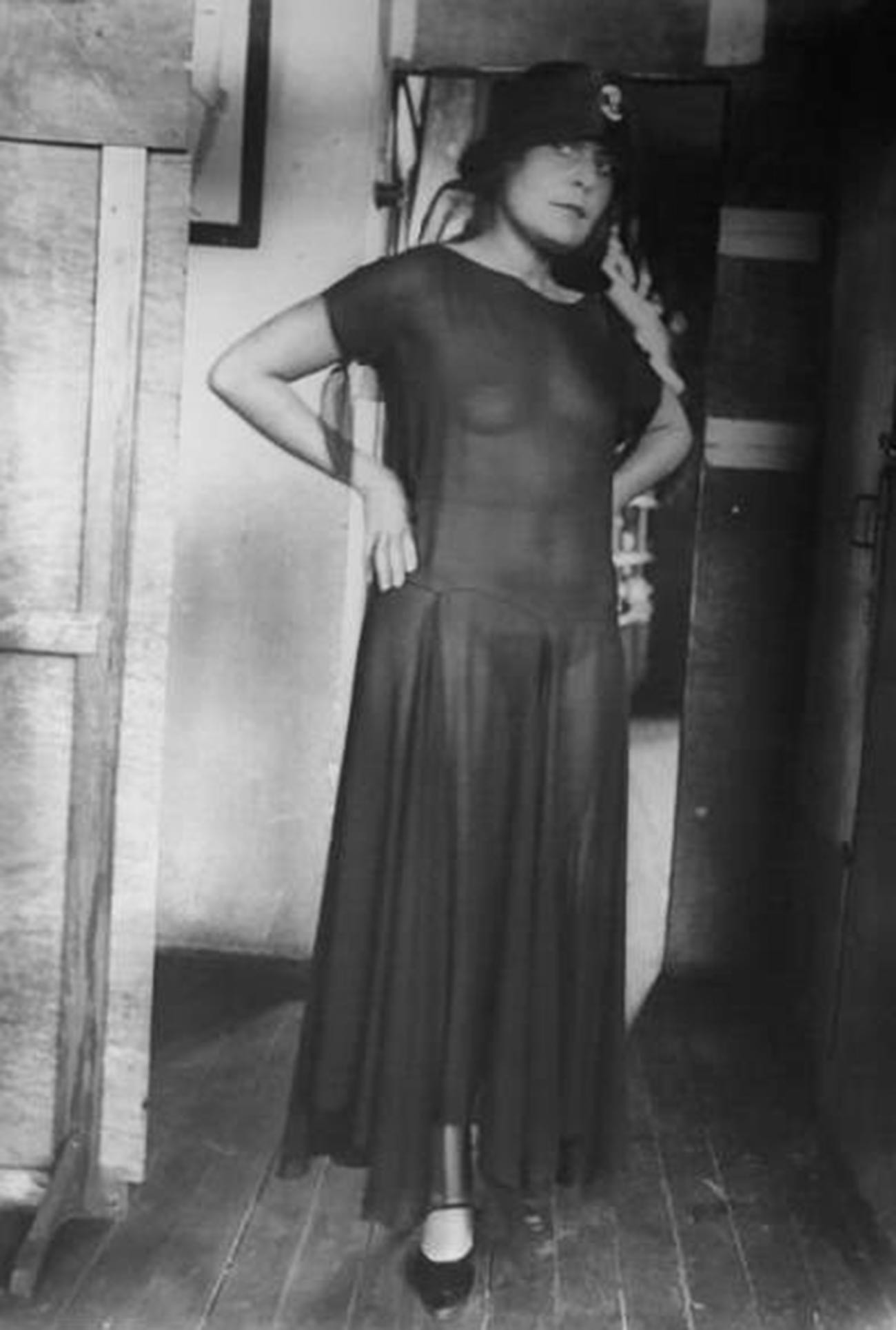 Poet Vladimir Mayakovsky's muse, Lily Brik, in a transparent dress, 1924.