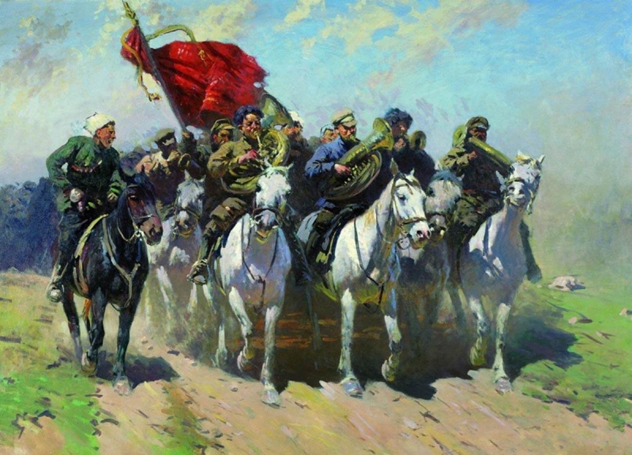 Mitrofan Grekov. Para peniup trompet Pasukan Kavaleri Pertama.