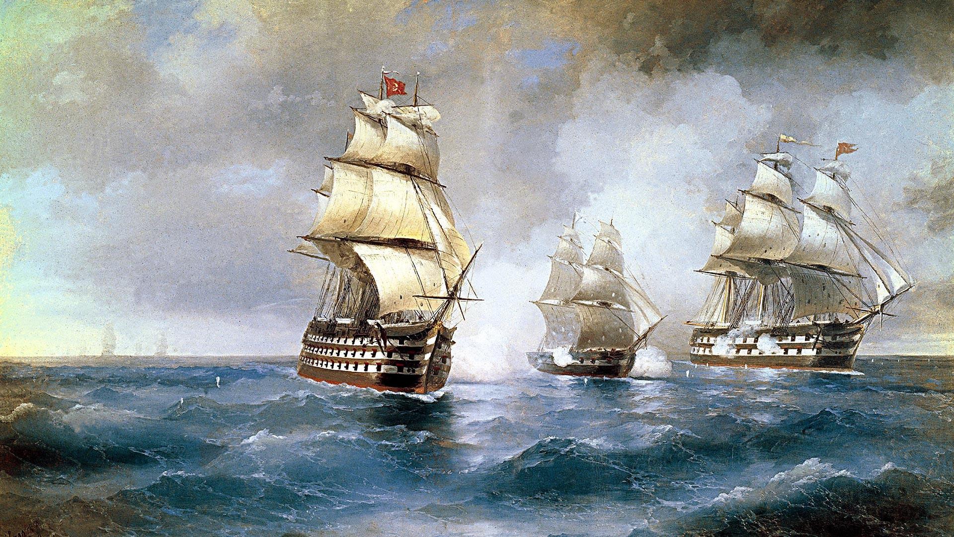 Иван Айвазовский. Бриг «Меркурий», атакованный двумя турецкими кораблями.