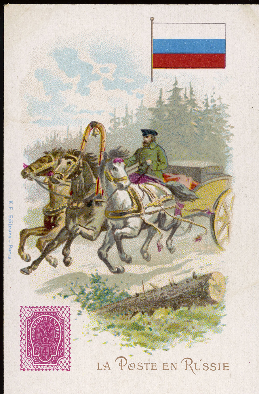 Com três cavalos para puxar sua troika, o carteiro russo pode fazer seu trajeto com velocidade e conforto. Postal emitido por volta do ano de 1900.