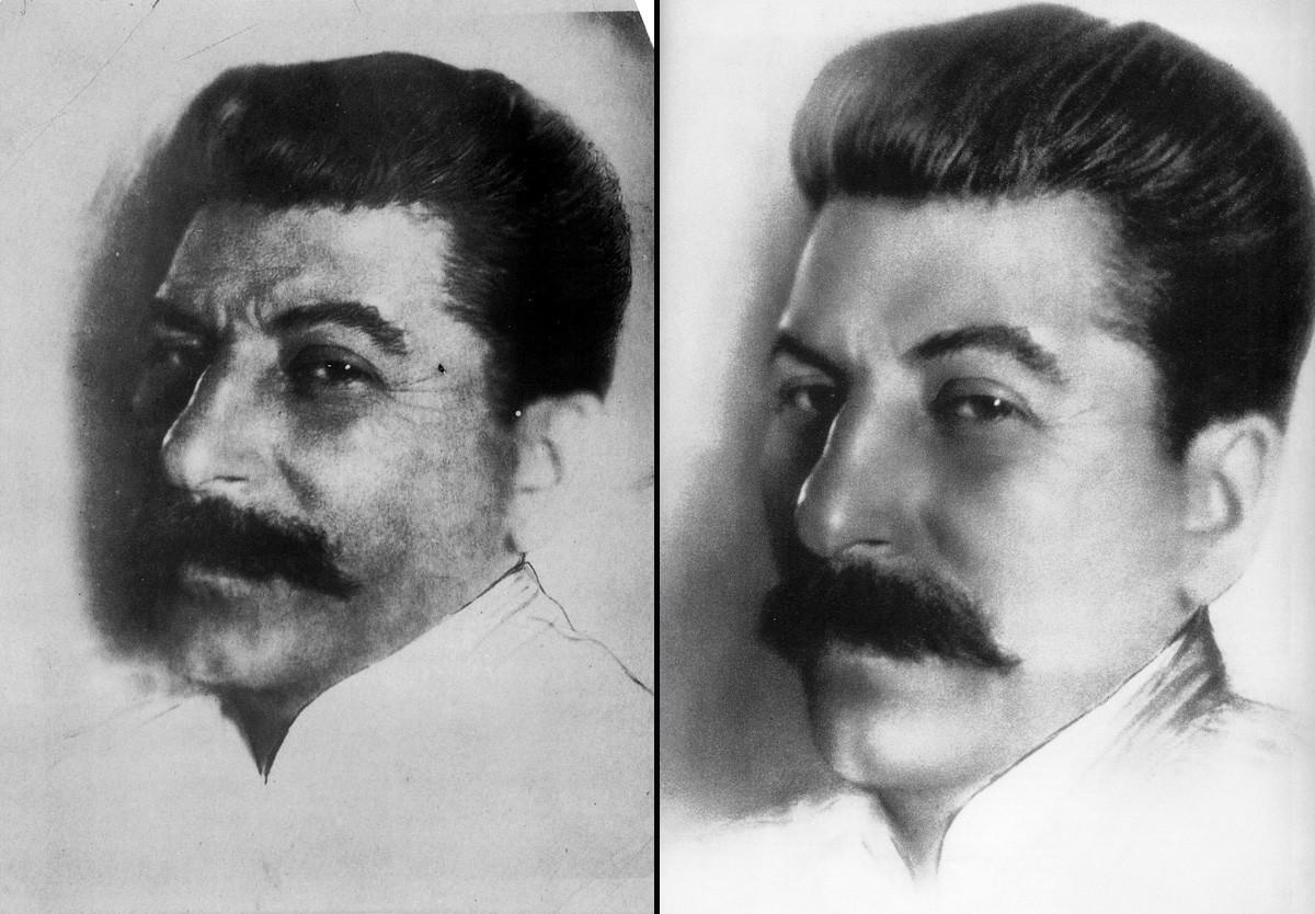 Stalin pred in po retuši