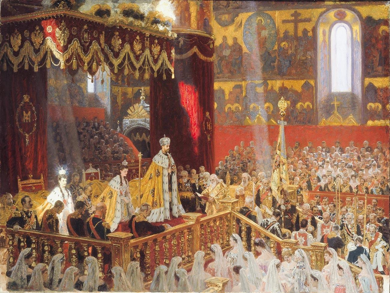 Le couronnement de Nicolas II dans la cathédrale de la Dormition du Kremlin