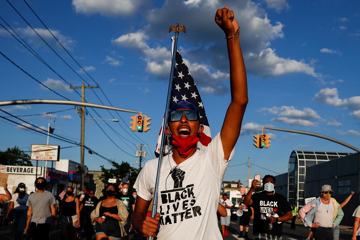 Протесты в Нью-Йорке 13 июля 2020 года