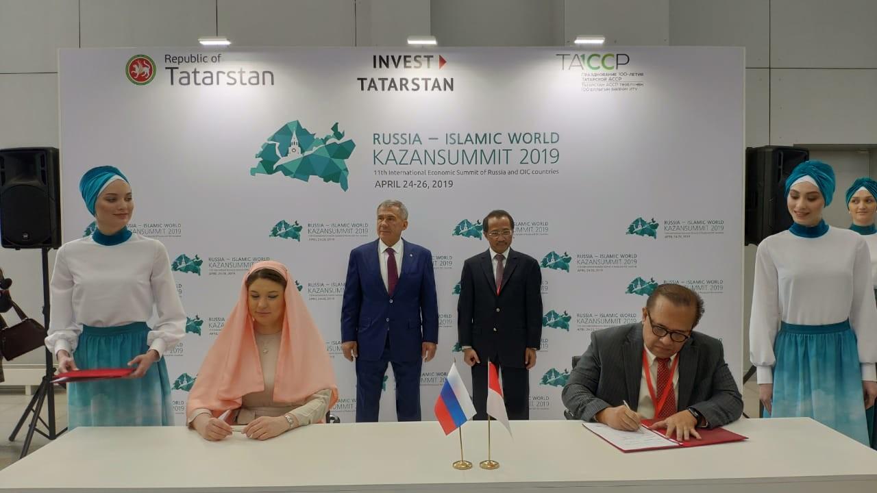 Penandatanganan MoU kerja sama halal lifestyle antara Indonesia Halal Lifestyle Center (IHLC) dengan Tatarstan Investment Development Agency (TIDA) di Kazan (25/4/2019).