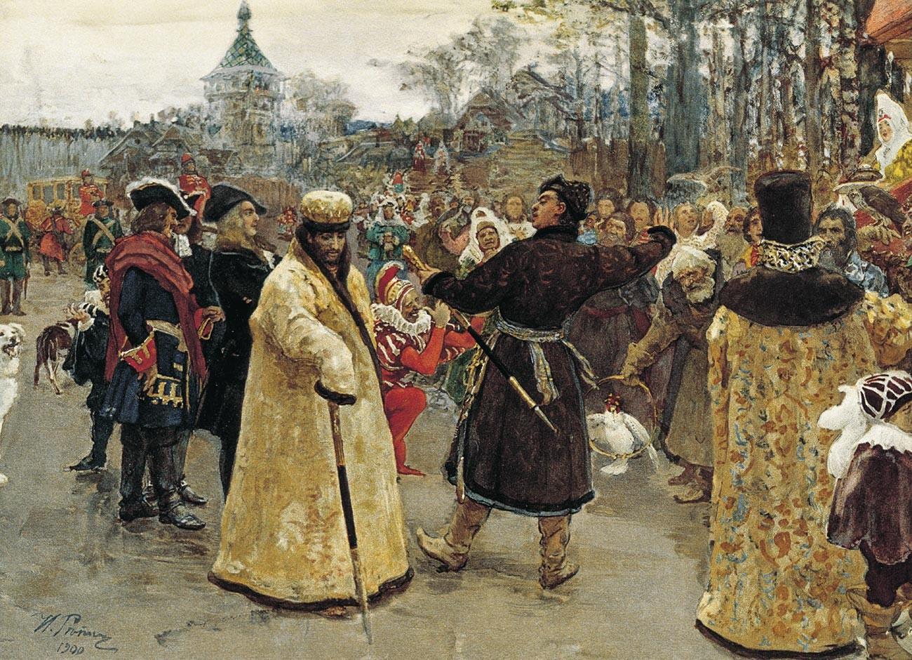 Ilya Repin. Arrival tsars Piotr and Ioann, 1900