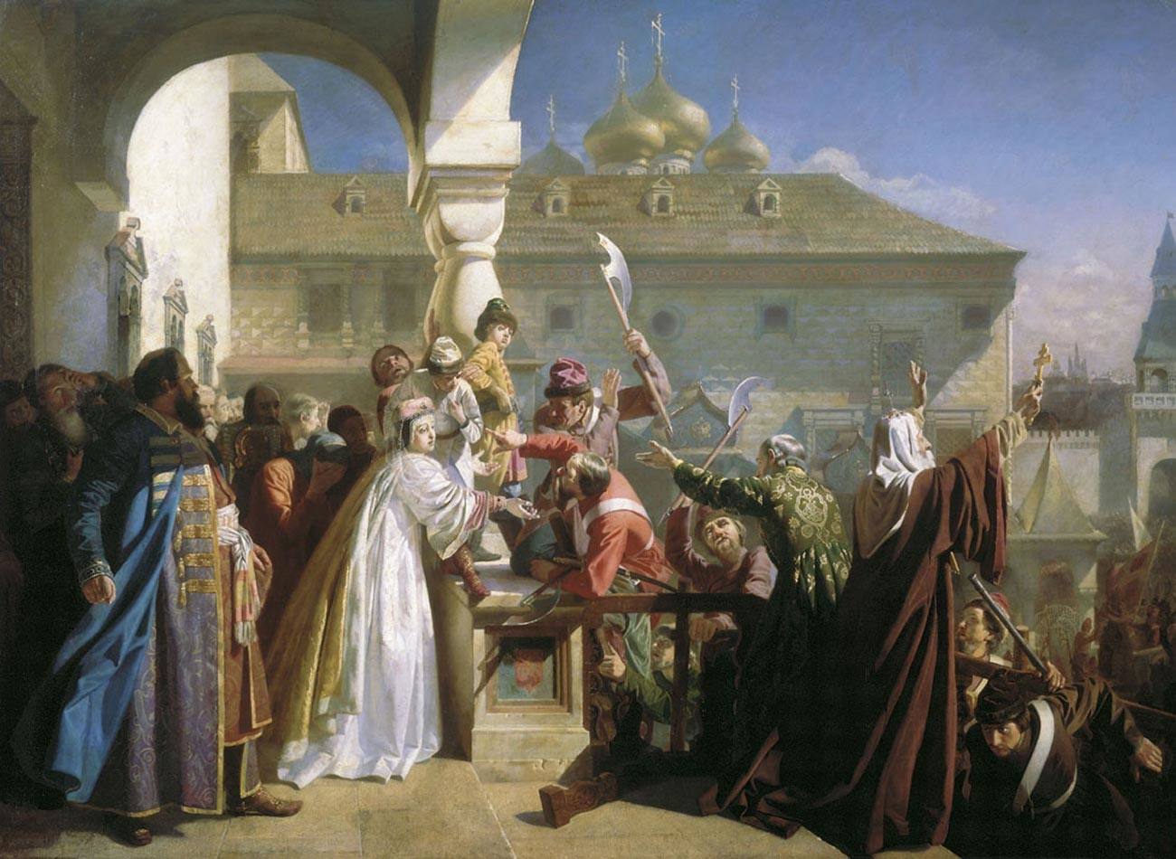 Streltsy Uprising of 1682. Natalia Naryshkina shows Ivan V to the Streltsy in order to prove that he is alive and well, while Patriarch Joachim of Moscow attempts to calm the crowd.