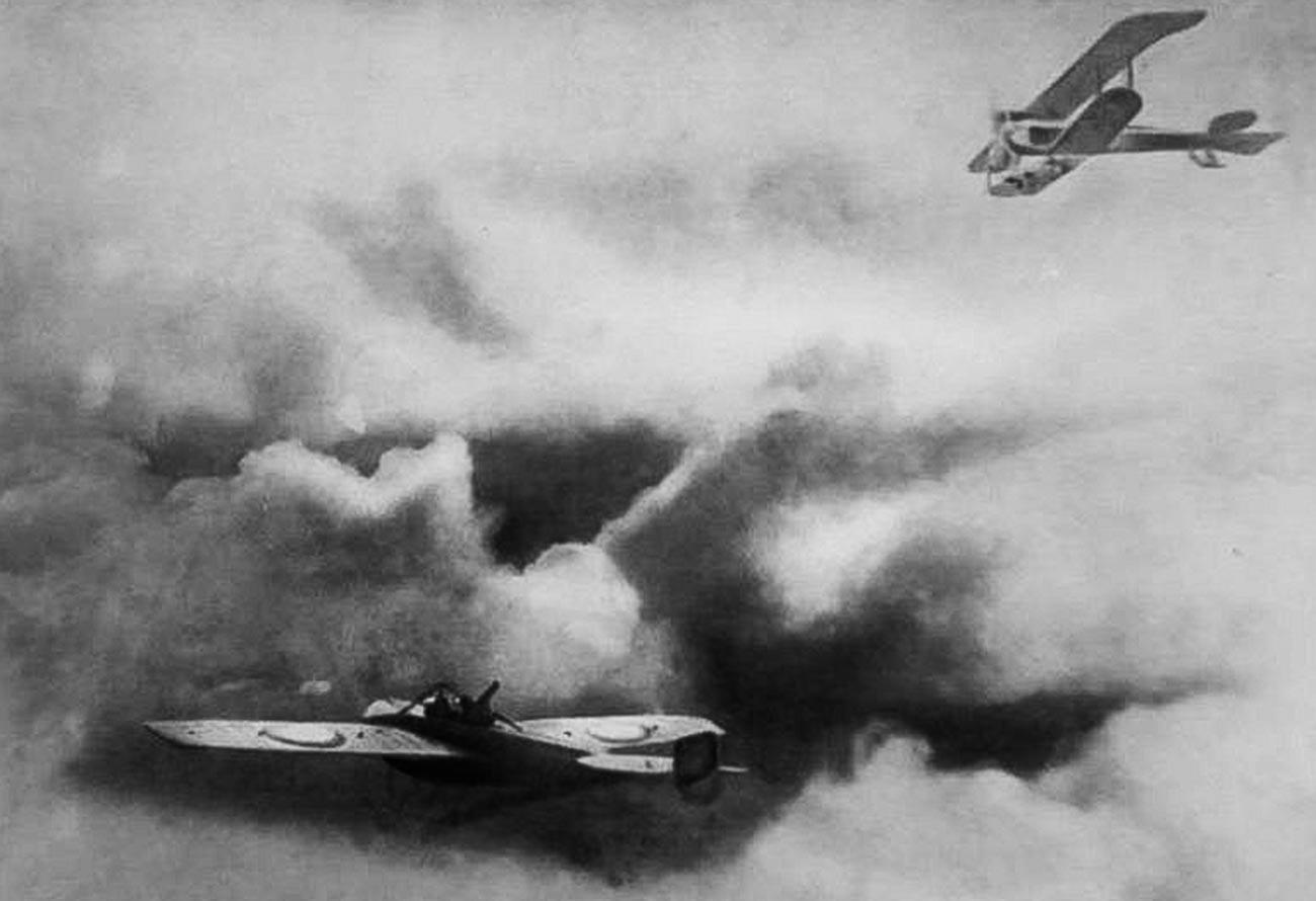 Air battle between Russian and Austrian aircraft.