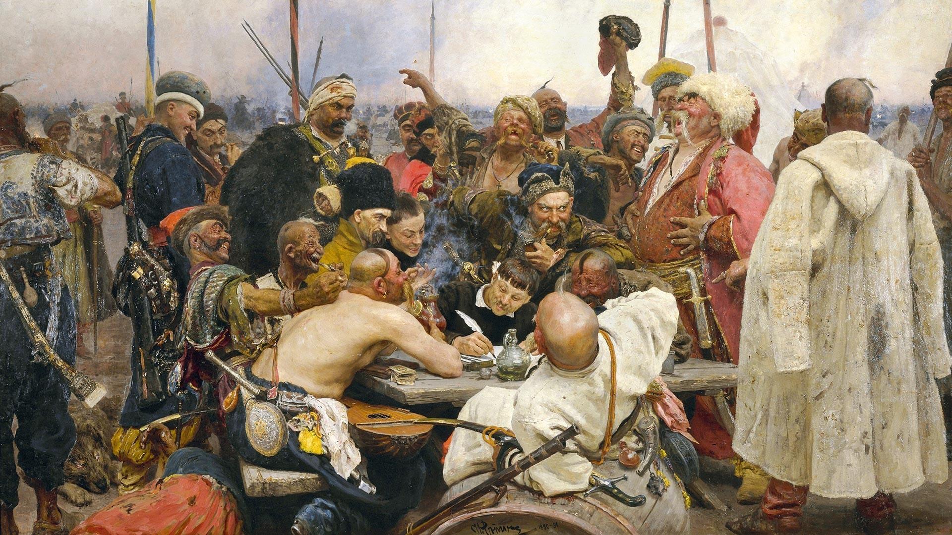 Zaporoški kozaki odgovarjajo osmanskemu sultanu Mehmedu IV., 1880-1891, naslikal Ilja Repin (1844-1930)  Ilja Repin