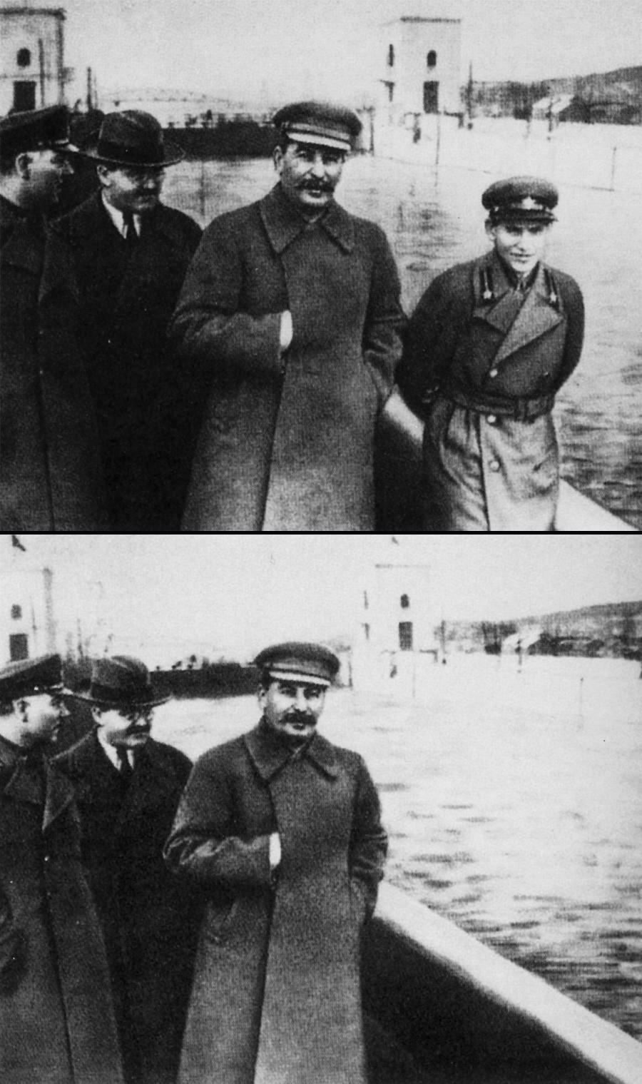 Joseph Staline et Nikolaï Iejov qui a dirigé le Commissariat du peuple aux affaires intérieures (NKVD) de 1936 à 1938\ Joseph Staline