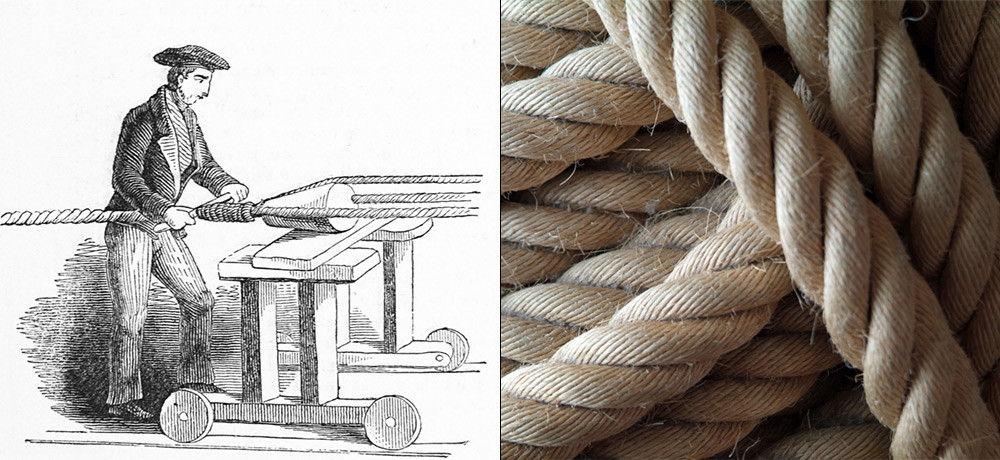 Rope making: 'laying' or twisting three strands of hemp yarn to form a rope (L). A hemp rope (R).