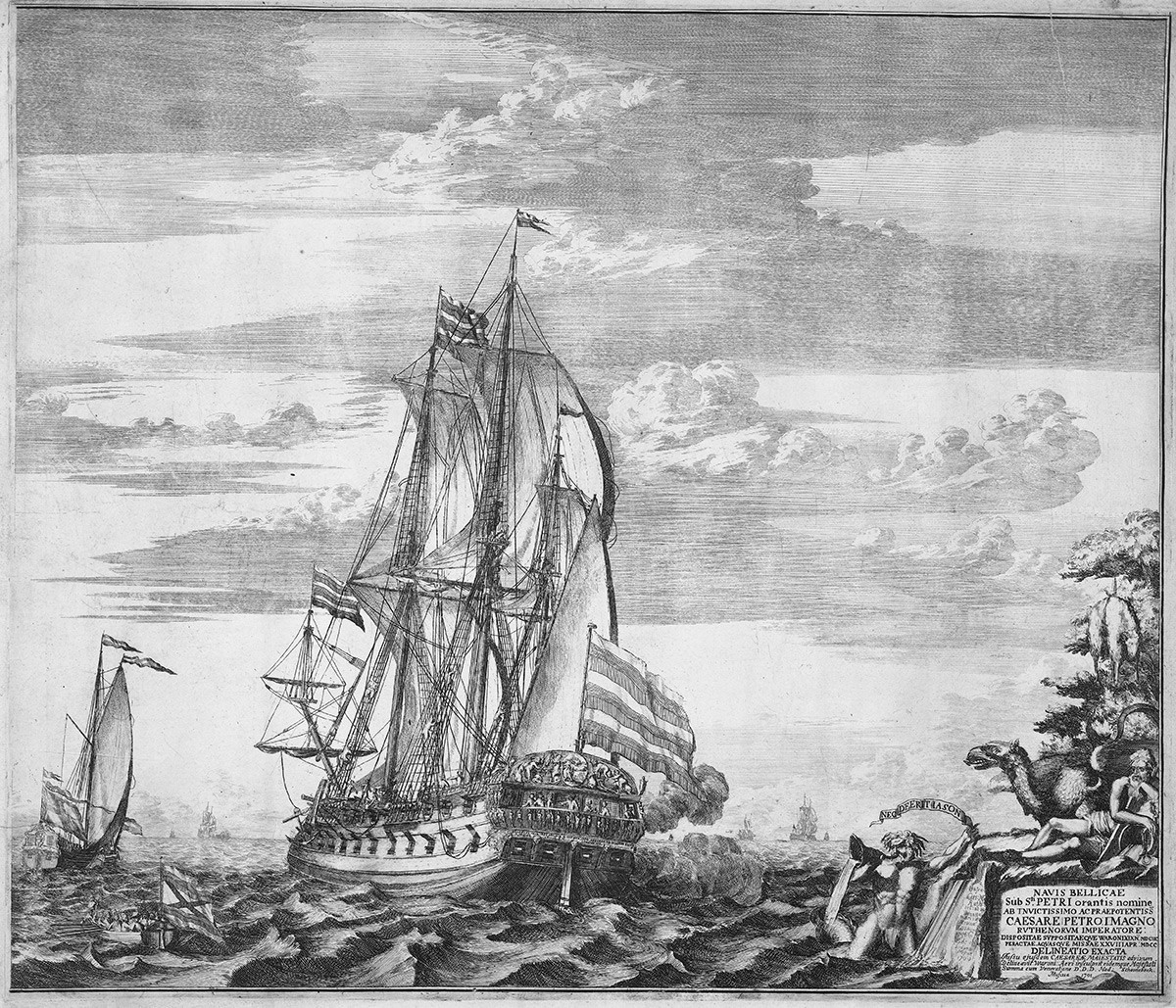 Flagship 'Goto Predestinatsia' (The Providence of God) built by Peter the Great at Voronezh, 1700, 1701. Found in the collection of Rijksmuseum, Amsterdam. Artist : Schoonebeek (Schoonebeck), Adriaan (1661-1705).