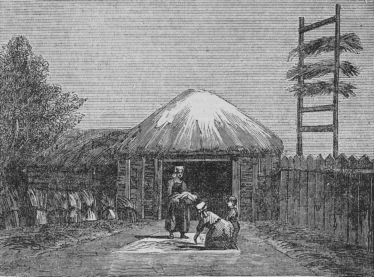 Sušenje konoplje in lana, Rusija, ilustracija iz Teatro universale, Raccolta enciclopedica e scenografica, 1838.