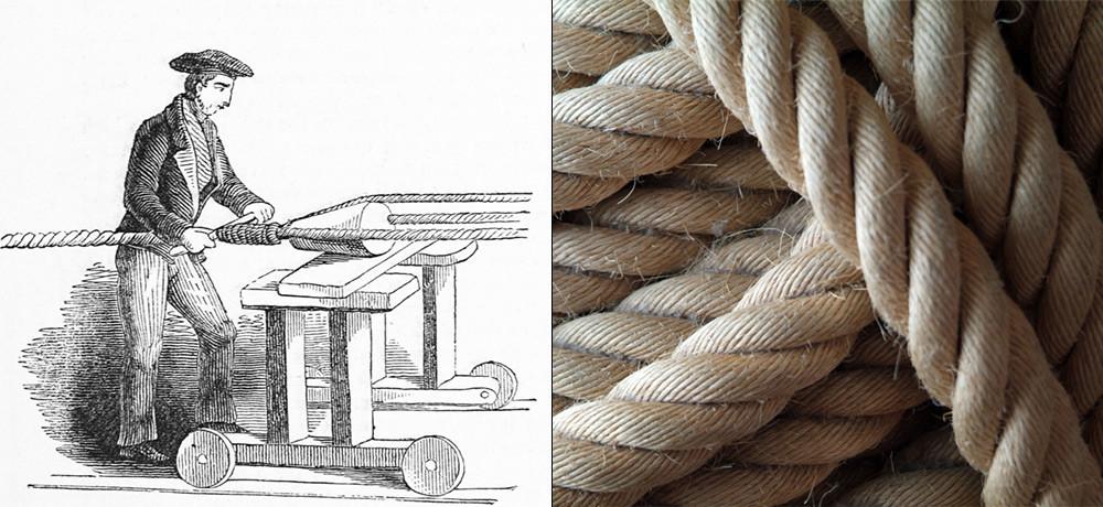 """Izdelava vrvi: """"polaganje"""" ali zvijanje treh pramenov konopljine preje, da nastane vrv (levo). Konopljina vrv (desno)."""