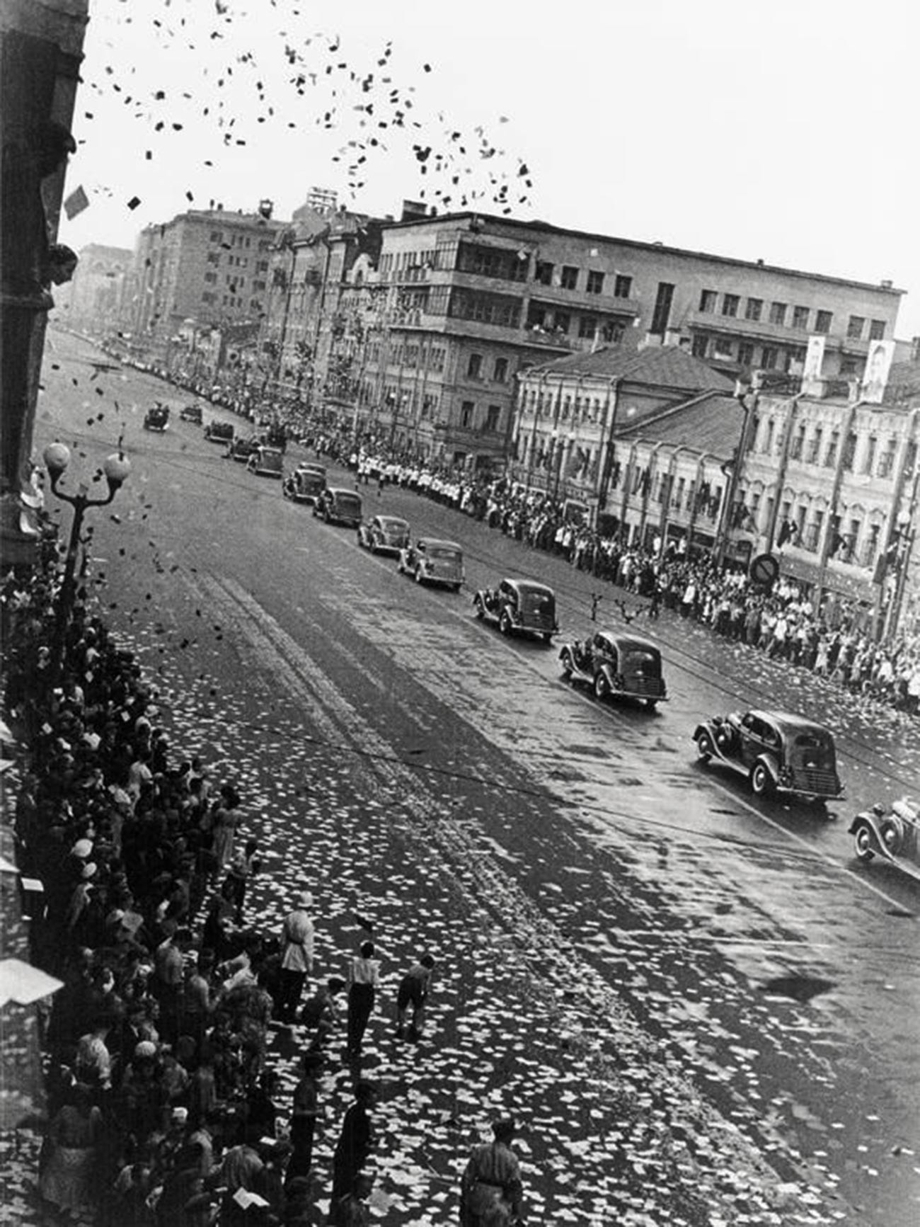 People of Moscow welcome Chkalov and his crew after their return from the U.S.