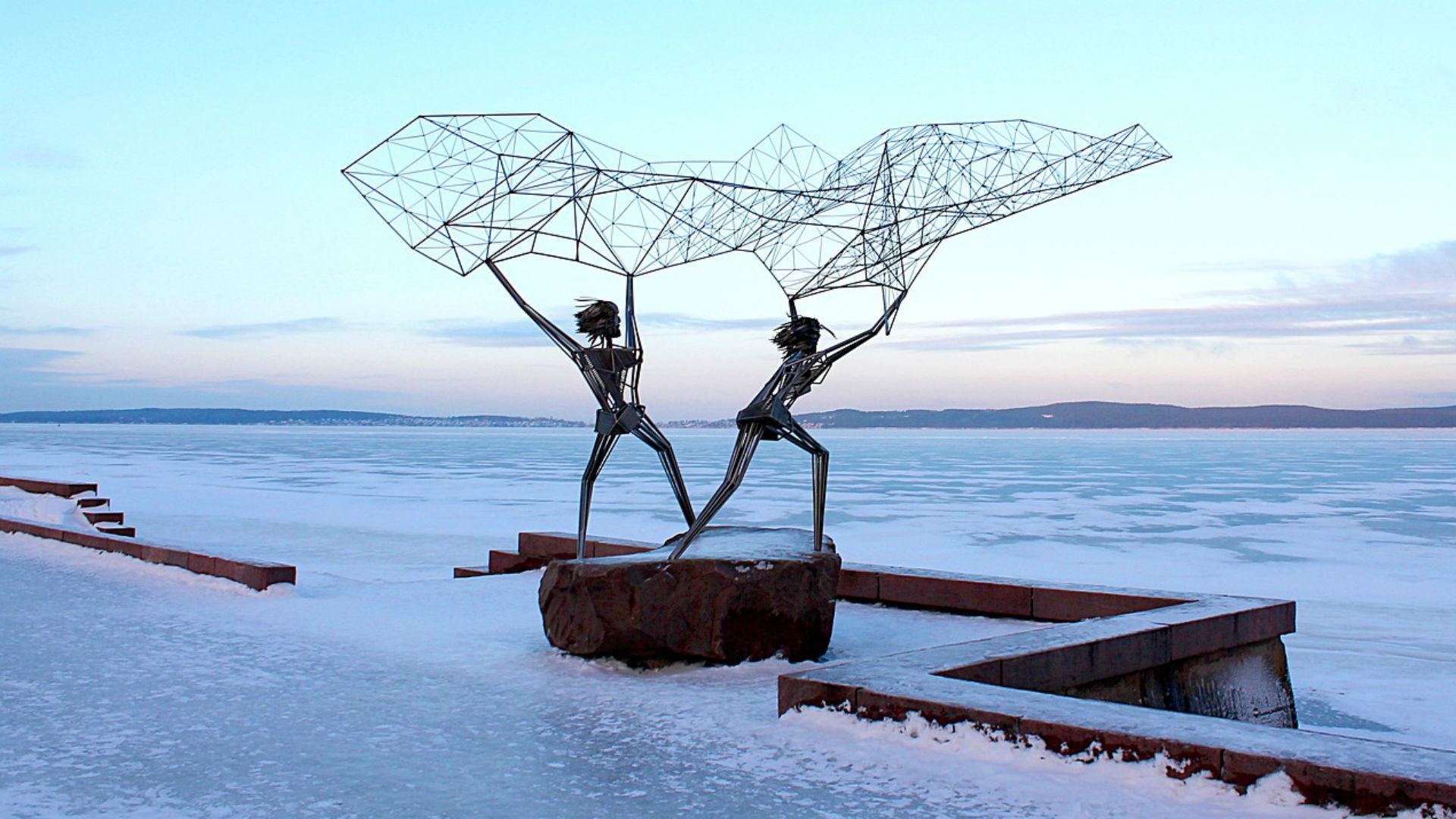 Sculpture Pêcheurs au bord du lac Onega à Petrozavodsk