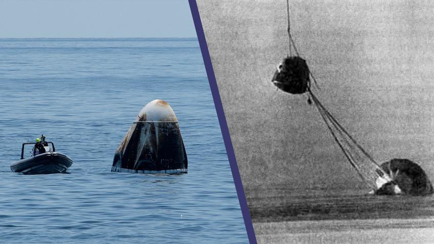 Nach der Wasserlandung der SpaceX-Raumkapsel im Golf von Mexiko / Rettung des Raumschiffs Sojus-23, das auf dem Tengissee in Kasachstan landete