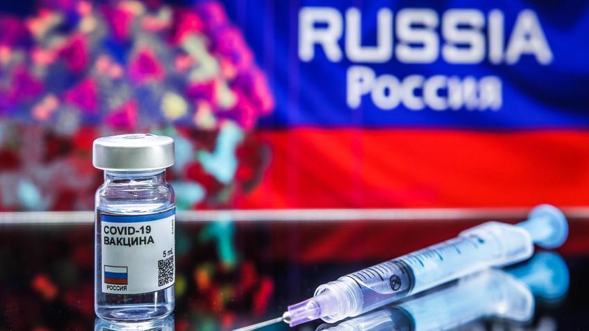 Ilustrasi vaksin COVID-19 buatan Rusia.
