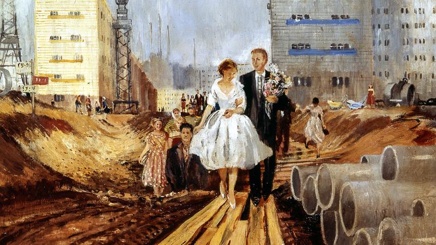 """Репродукция на картината """"Сватба на утрешната улица"""" на художника Юрий Иванович Пименов. 1962 година."""