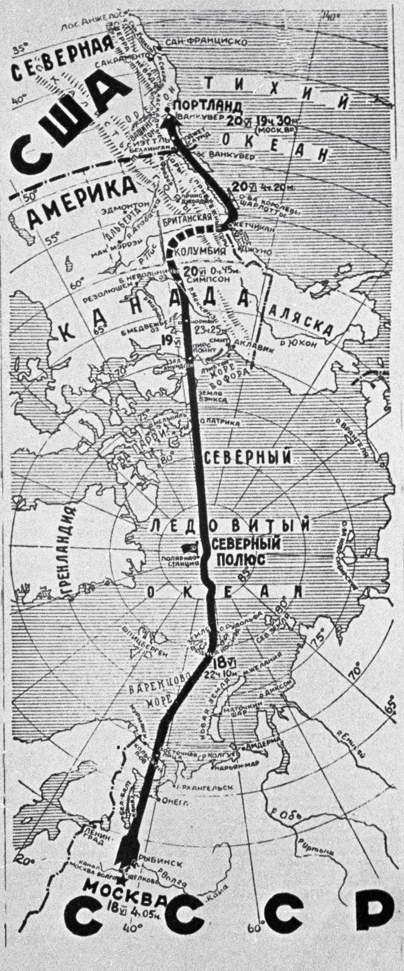 Zemljevid poleta sovjetskih pilotov Čkalova, Bajdukova in Beljakova iz Moskve v Severno Ameriko preko Severnega tečaja