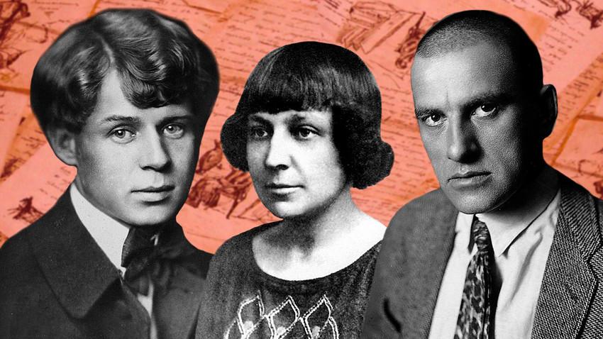 Da esq. para dir. Serguei Iessênin, Marina Tsvetáieva, Vladímir Maiakóvski.