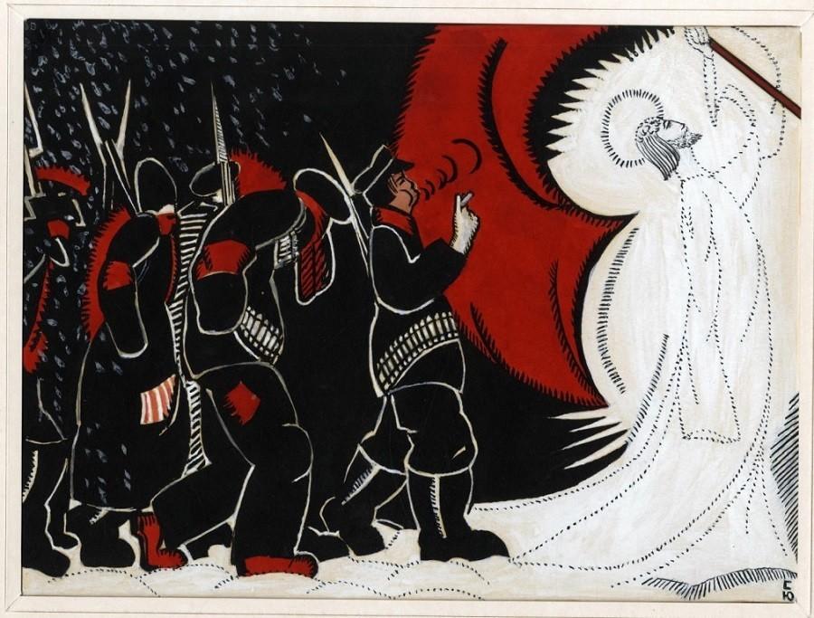 """Ilustração para o poema de Blok """"Os Doze""""."""