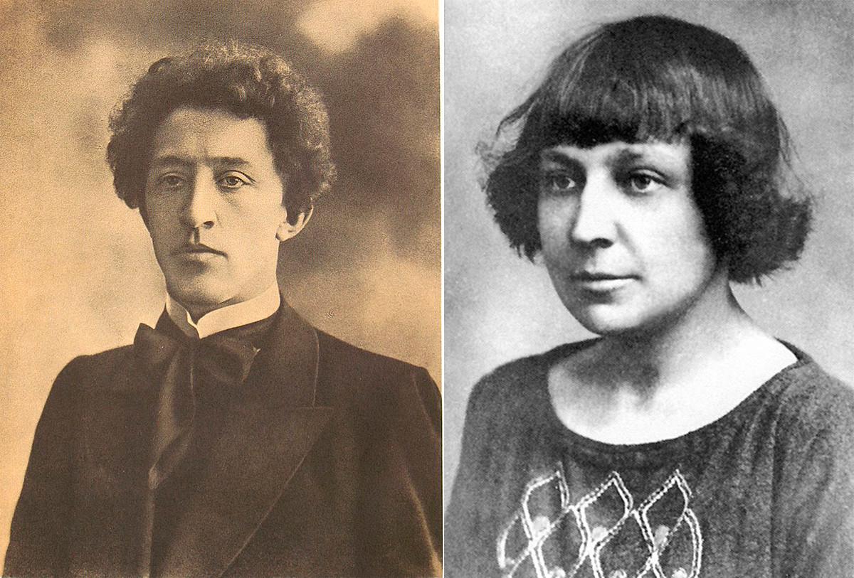 Aleksandr Blok (esq.) e Marina Tsvetava (dir.).