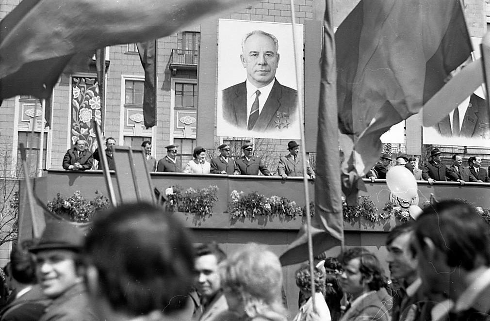 Првомајска демонстрација во Харков, 1974 година.