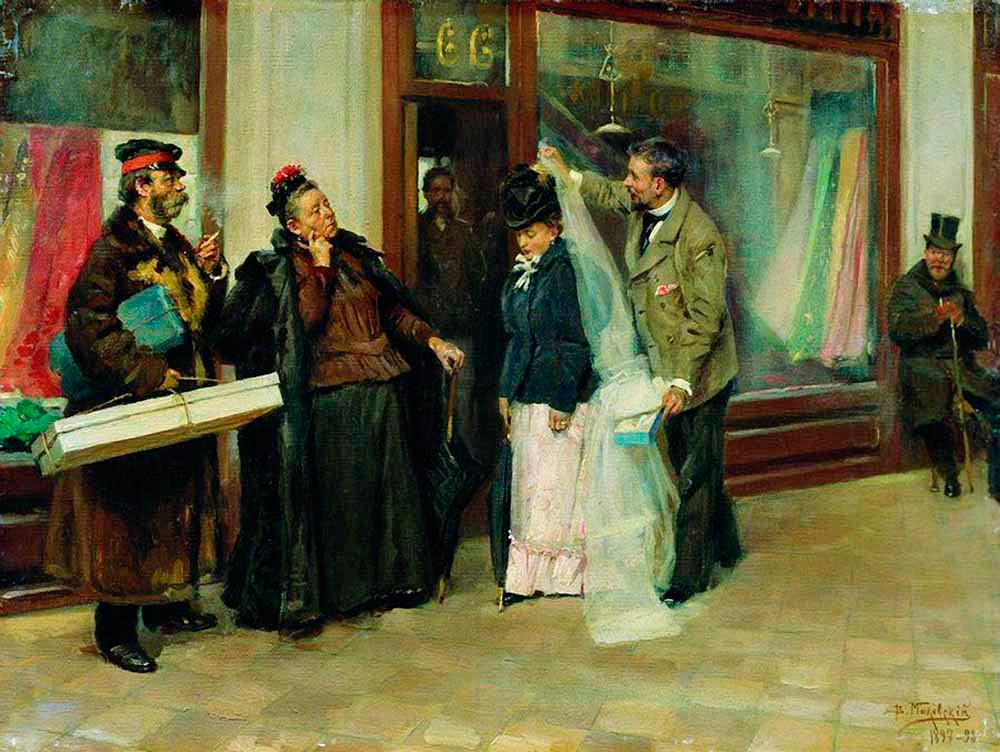 Chosing a dowry, Vladimir Makovsky, 1898.
