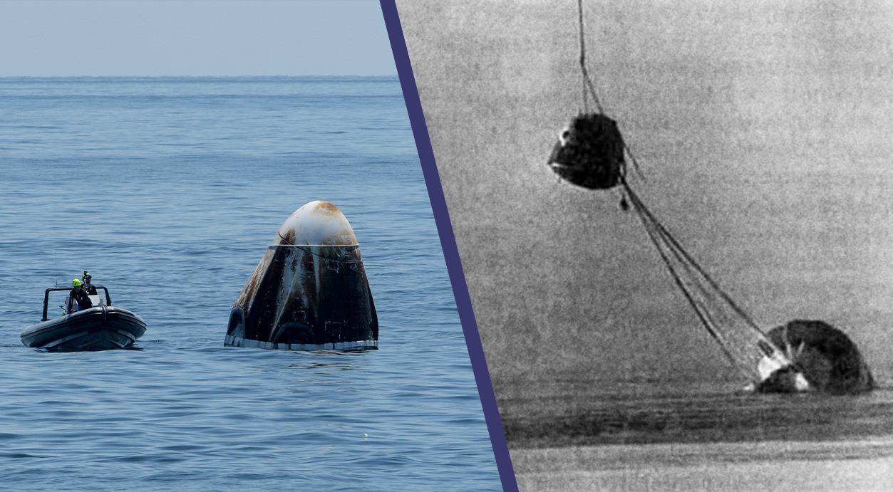 Группа поддержки идет к космическому кораблю SpaceX Crew Dragon Endeavour после приводнения в Мексиканском заливе/буксировка вертолетом аппарата с парашютом в 1976 году