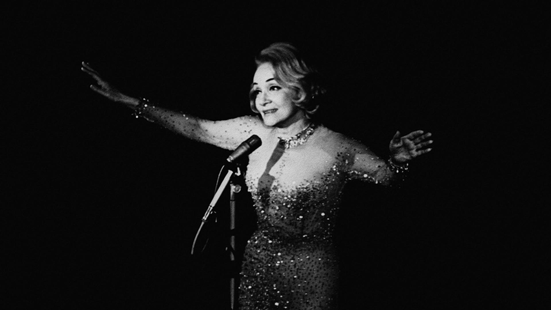 Marlene Dietrich während ihrer Tournee 1964 in die UdSSR
