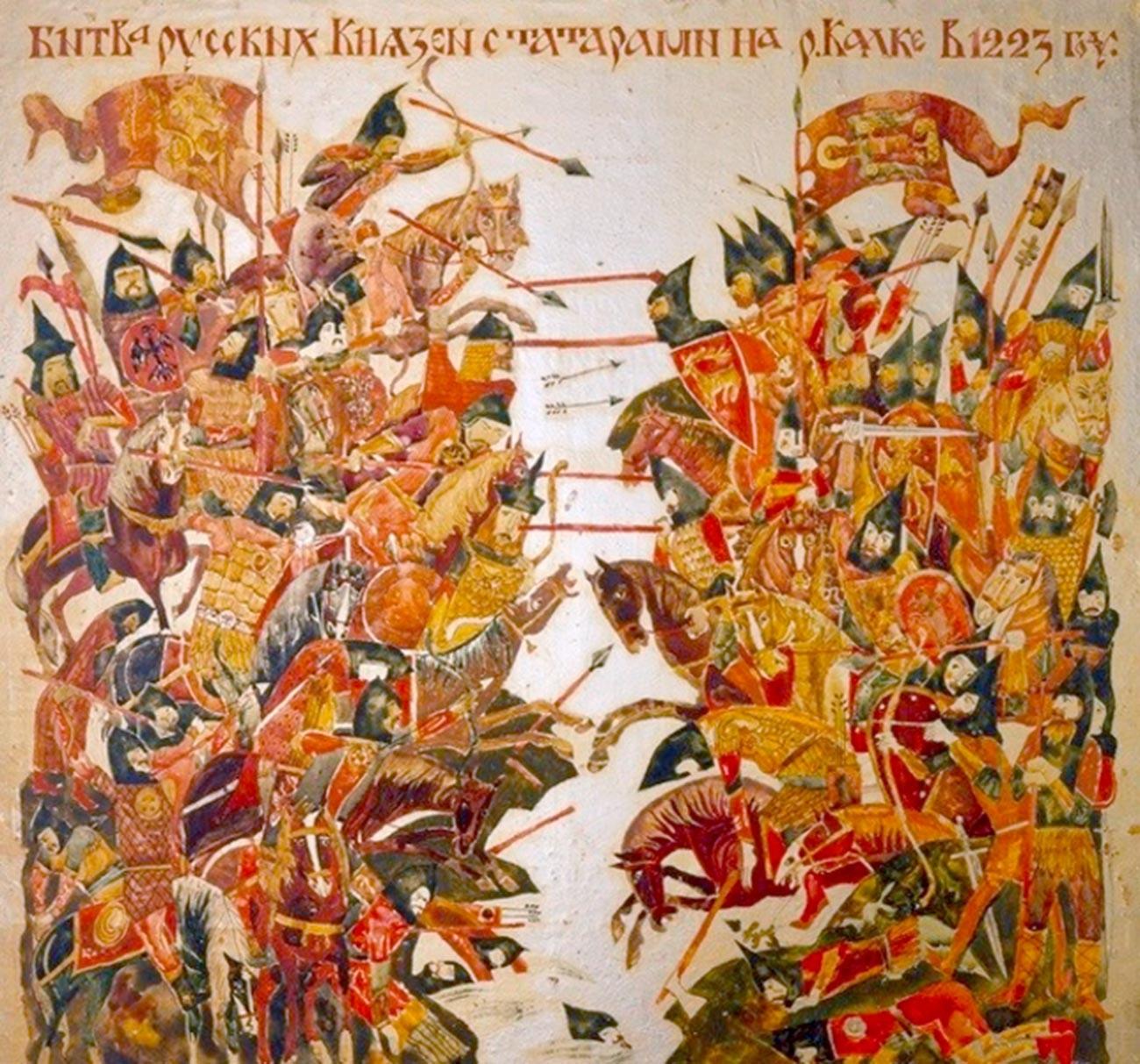Rekontruksi pertempuran di sungai Kalka, 1223.