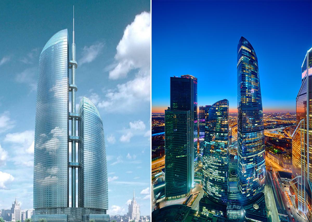 """Пројекат комплекса """"Федерацијаˮ са шиљком и изглед комплекса по завршетку изградње"""