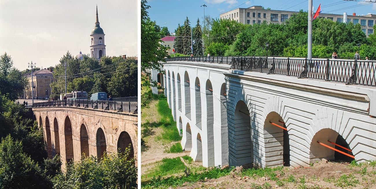 The bridge in 1970s and today.