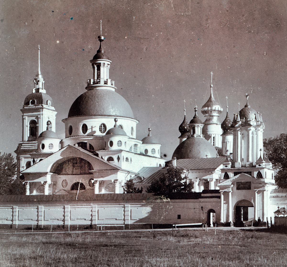 Savior-St. Yakov-St. Dimitry Monastery. Northwest view. From left: Bell tower, Church of St. Dimitry of Rostov, Conception of St. Anne Cathedral, North Gate. Summer 1911