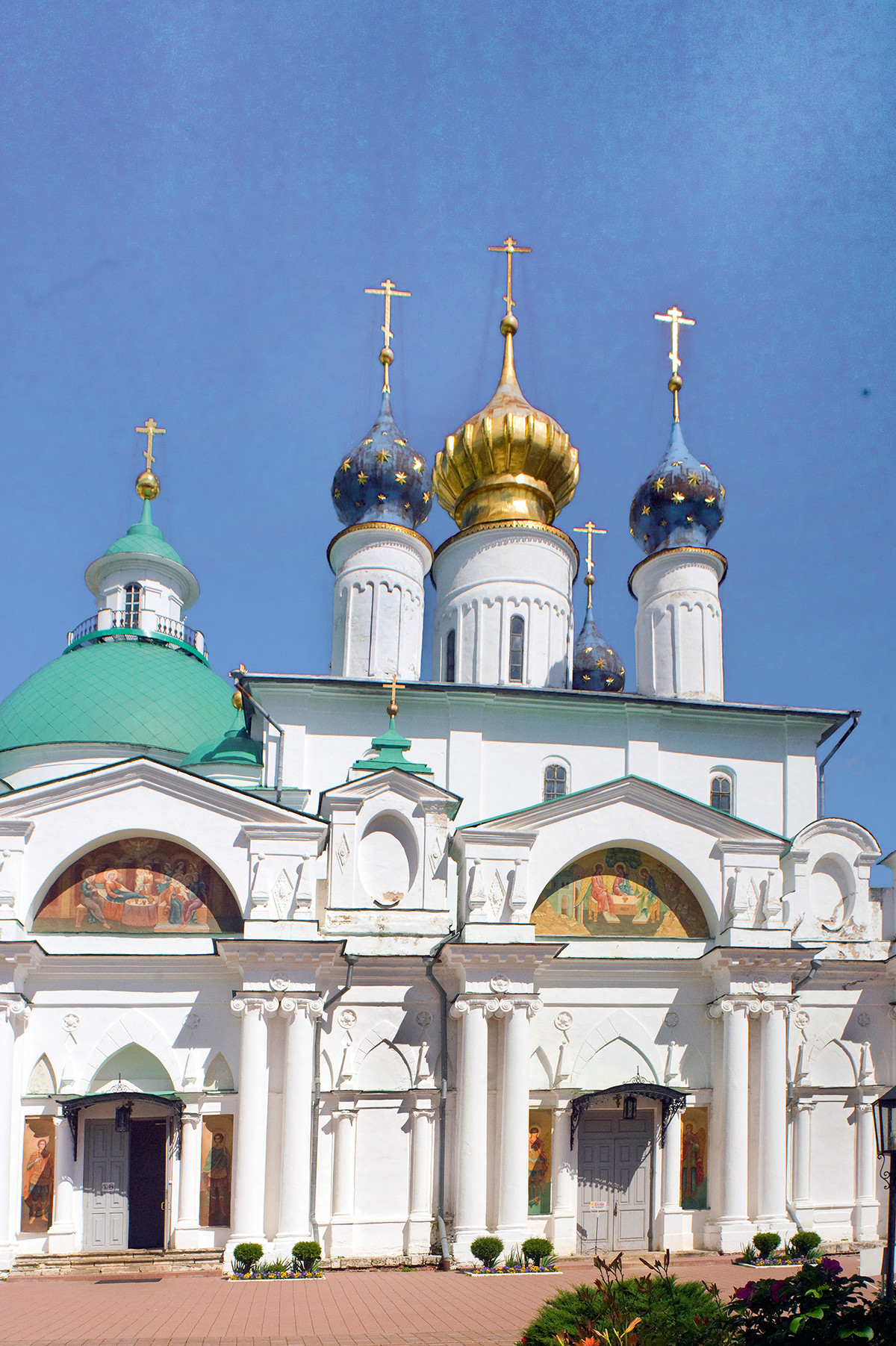 Cathedral of Conception of St. Anne, with attached Church of St. Yakov (left). West view. July 7, 2019