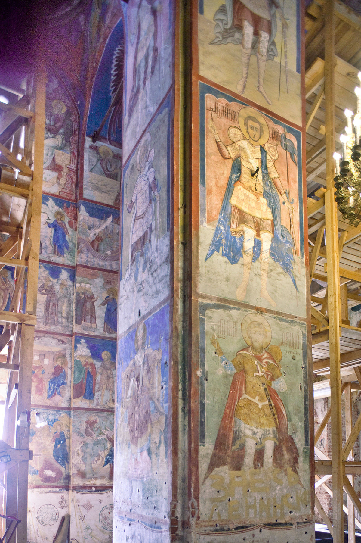Cathedral of Conception of St. Anne. Interior. Northwest pier with frescoes of warrior saints. July 8, 2019