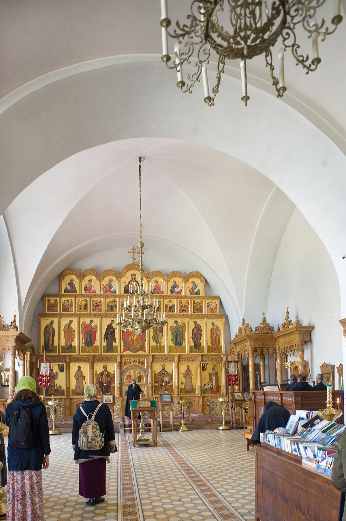 Church of St. Yakov. View east toward new icon screen in repaired interior. July 7, 2019