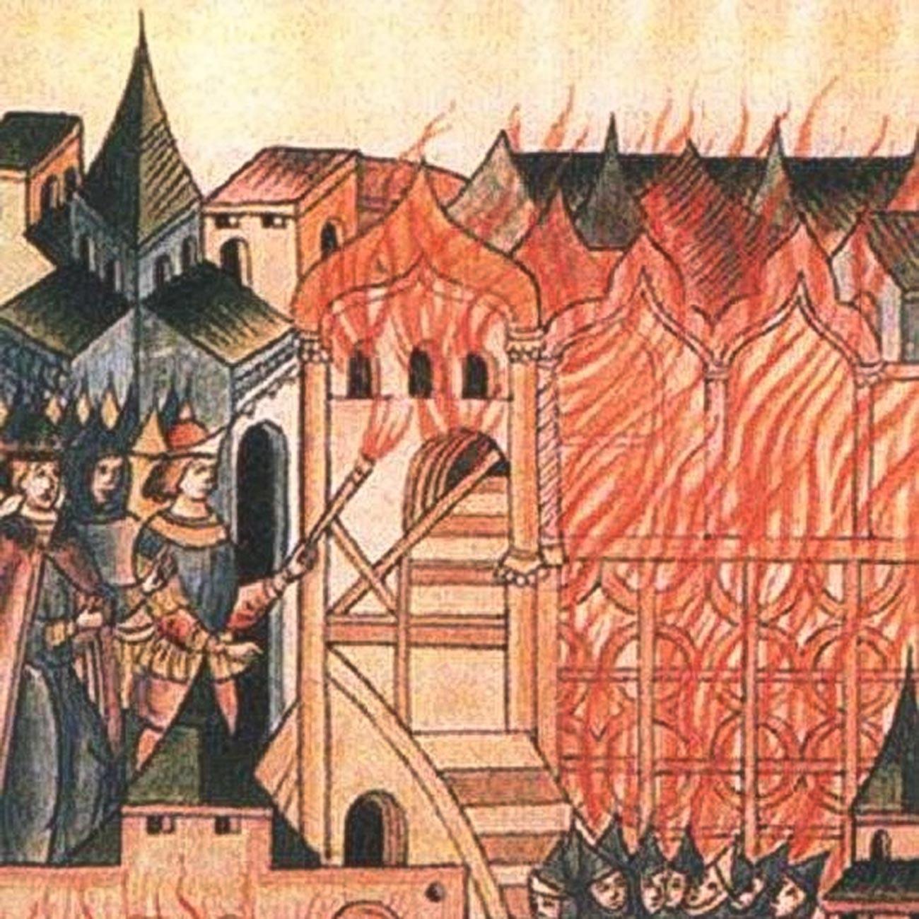 Pemberontakan Tver pada1328, seperti yang terlihat dalam kronik Rusia abad ke-16.