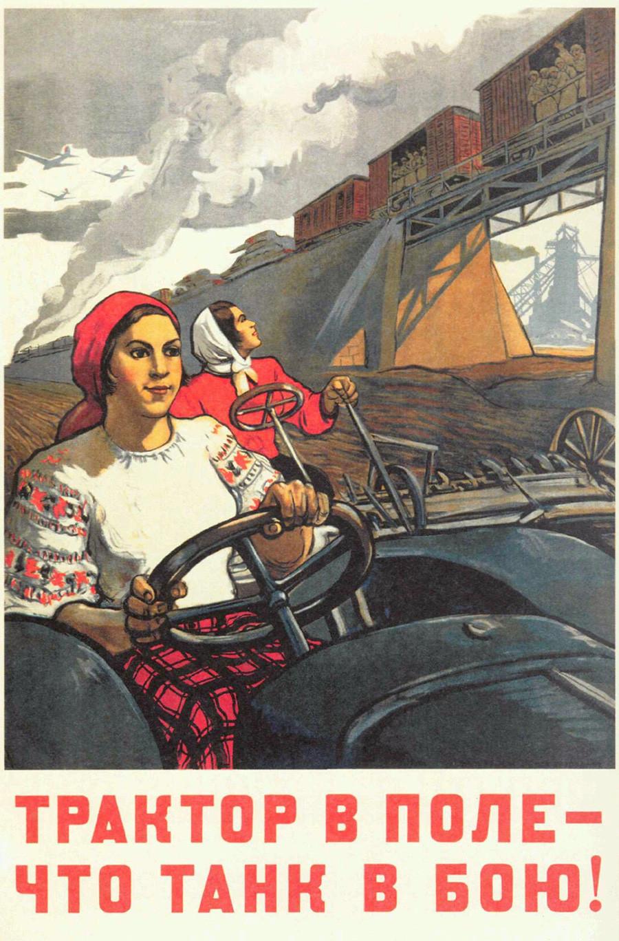 """""""Tractor en el campo - como el tanque en la batalla"""" (1942)"""