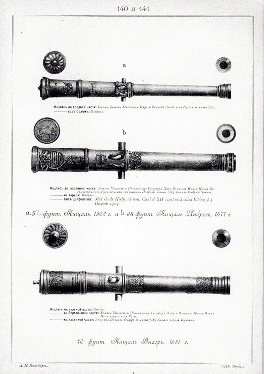 """Il progetto del cannone """"Onagre"""" (dal nome, """"onagro"""", di un'arma dell'esercito romano), XVI secolo"""