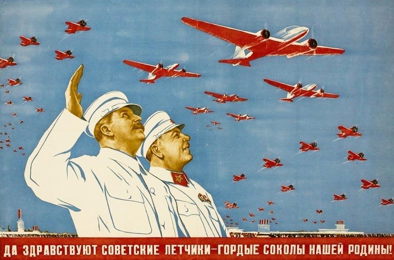 « Vive les pilotes soviétiques, fiers faucons de notre Mère Patrie ! »